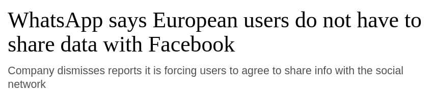 Image of a article title which says EU user's don't have to share data with FB